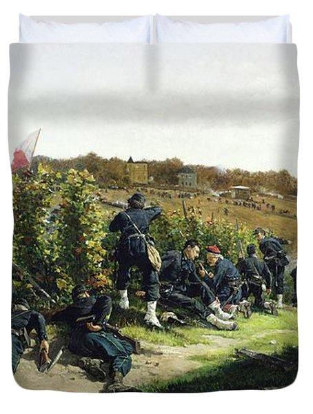 The Tirailleurs De La Seine At The Battle Of Rueil Malmaison Duvet Cover by Etienne Prosper Berne-Bellecour