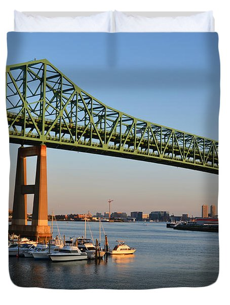 The Tobin Bridge Into The Sunset Chelsea Yacht Club Duvet Cover