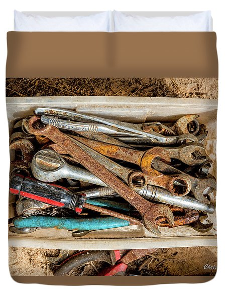 Duvet Cover featuring the photograph The Toolbox by Christopher Holmes
