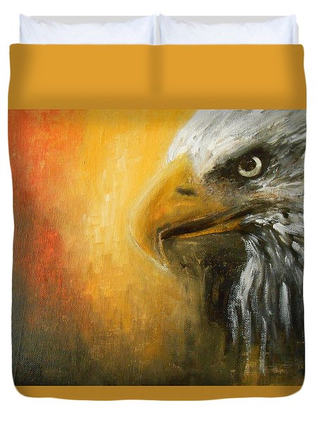Duvet Cover featuring the painting The Totem by Jane See