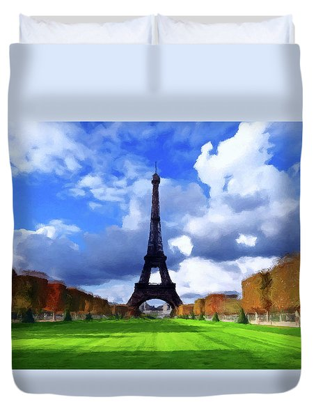 Duvet Cover featuring the painting The Tower Paris by David Dehner