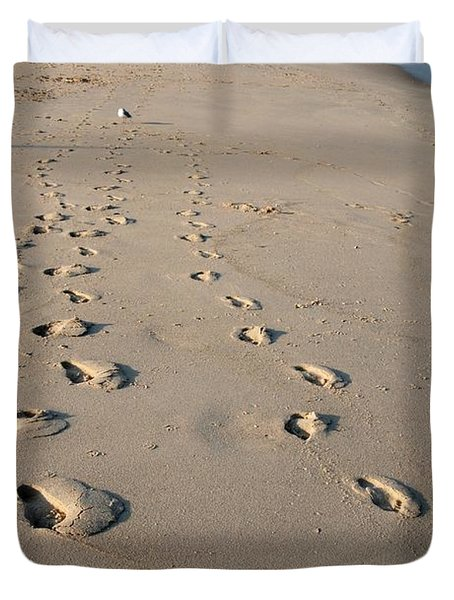 The Trails Of Footprints - Jersey Shore Duvet Cover
