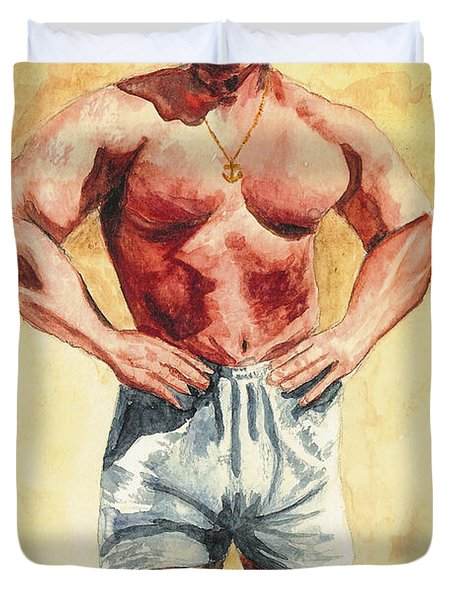 Duvet Cover featuring the painting The Trainer by Vicki  Housel