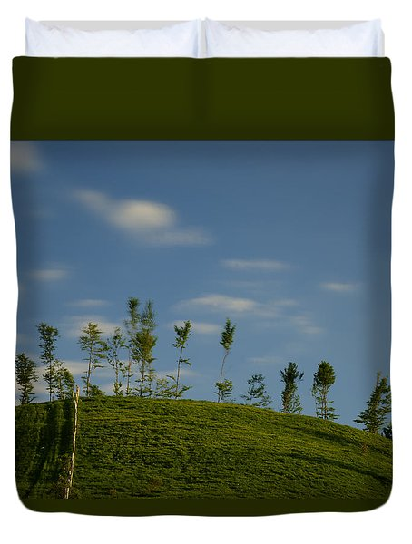 Duvet Cover featuring the photograph The Trees On The Hill by Enrico Pelos