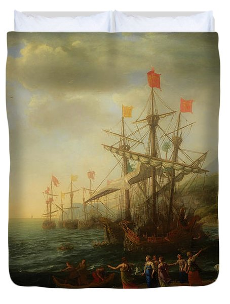 Duvet Cover featuring the painting The Trojan Women Setting Fire To The Fleet by Claude Lorrain