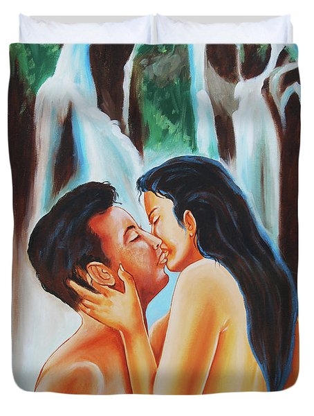 Duvet Cover featuring the painting The True Nature Of Happiness by Ragunath Venkatraman
