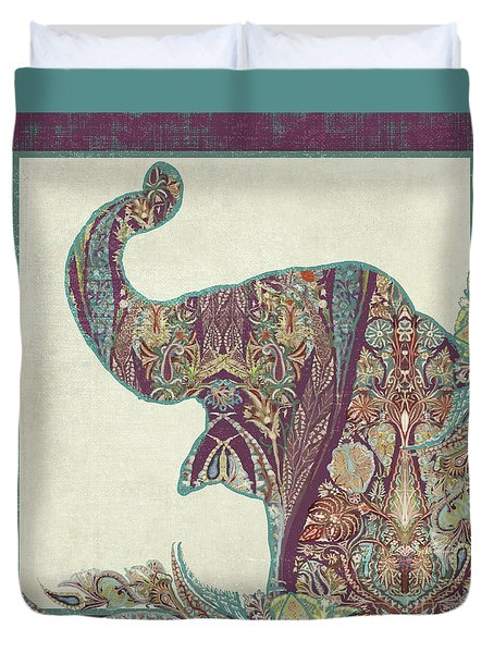 Duvet Cover featuring the painting The Trumpet - Elephant Kashmir Patterned Boho Tribal by Audrey Jeanne Roberts