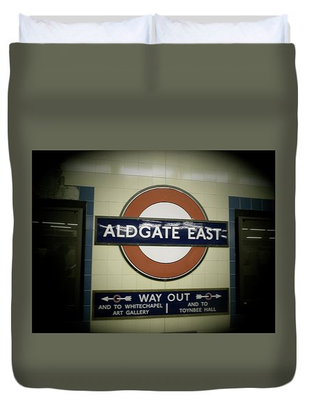 Duvet Cover featuring the photograph The Tube Aldgate East by Christin Brodie