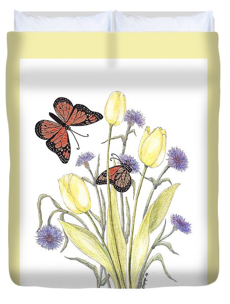 The Tulip And The Butterfly Duvet Cover by Stanza Widen