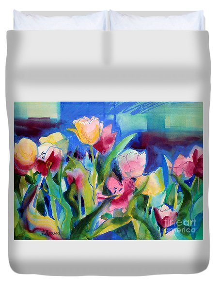 The Tulips Bed Rock Duvet Cover by Kathy Braud