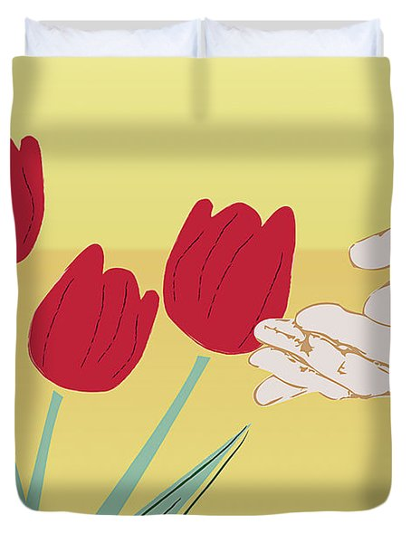 Duvet Cover featuring the digital art The Tulips by Milena Ilieva