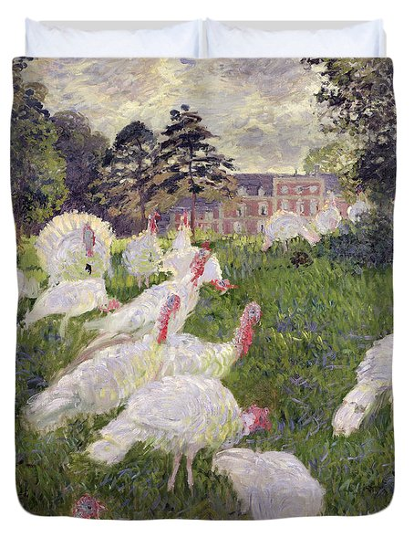 The Turkeys At The Chateau De Rottembourg Duvet Cover by Claude Monet
