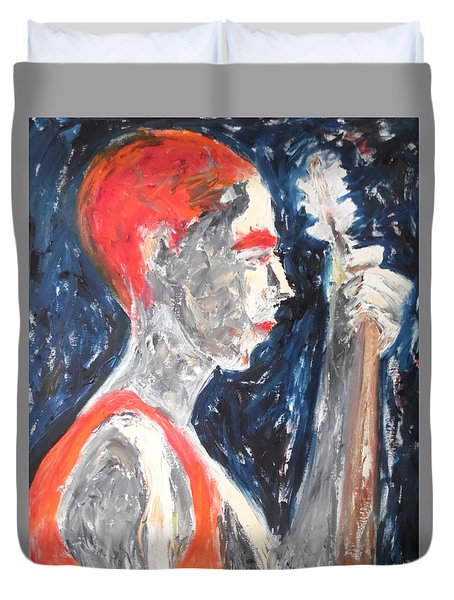 Duvet Cover featuring the painting The Turkish Baglama Player by Esther Newman-Cohen