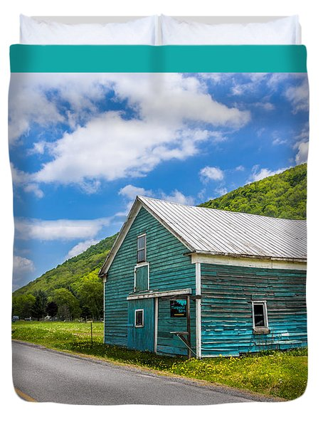 Duvet Cover featuring the photograph The Turquoise Barn by Paula Porterfield-Izzo