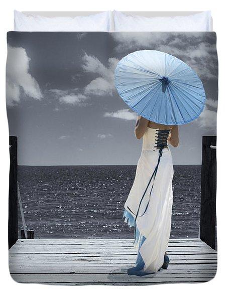 The Turquoise Parasol Duvet Cover by Amanda Elwell