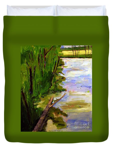Duvet Cover featuring the painting The Turtle Log by Charlie Spear