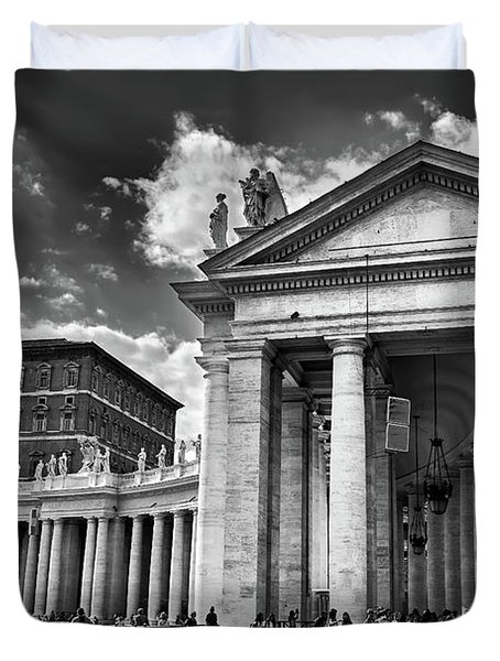 The Tuscan Colonnades In The Vatican Duvet Cover