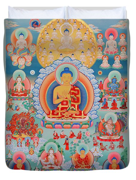 The Twelve Primordial Teachers Of Dzogchen - Tonpa Chu Ni Duvet Cover