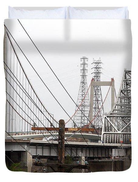 The Two Carquinez Bridges At Crockett And Vallejo California . Aka Alfred Zampa Memorial Bridge . 7d8919 Duvet Cover