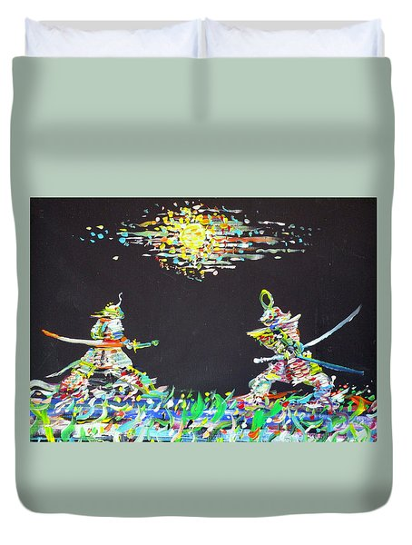 Duvet Cover featuring the painting The Two Samurais by Fabrizio Cassetta