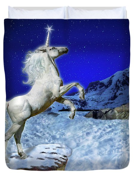 Duvet Cover featuring the digital art The Ultimate Return Of Unicorn  by William Lee