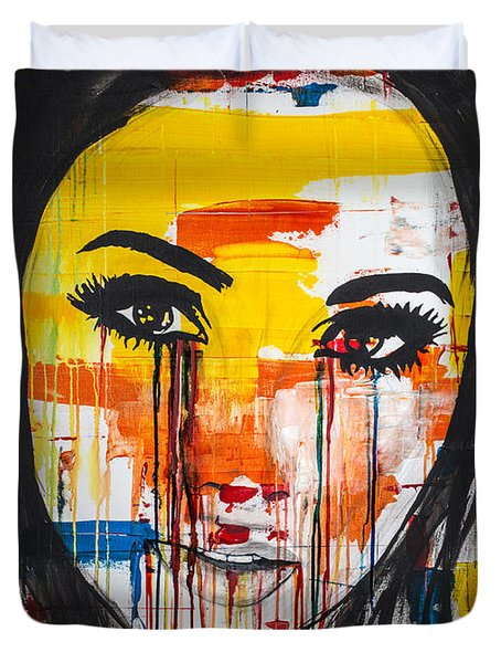 Duvet Cover featuring the painting The Unseen Emotions Of Her Innocence by Bruce Stanfield