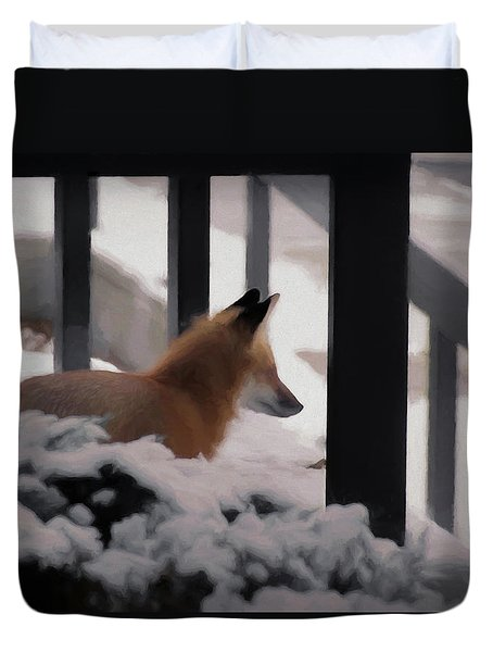 Duvet Cover featuring the digital art The Urban Fox by Ernie Echols