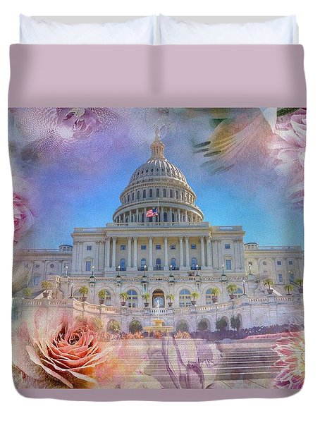 The Us Capitol Building At Spring Duvet Cover