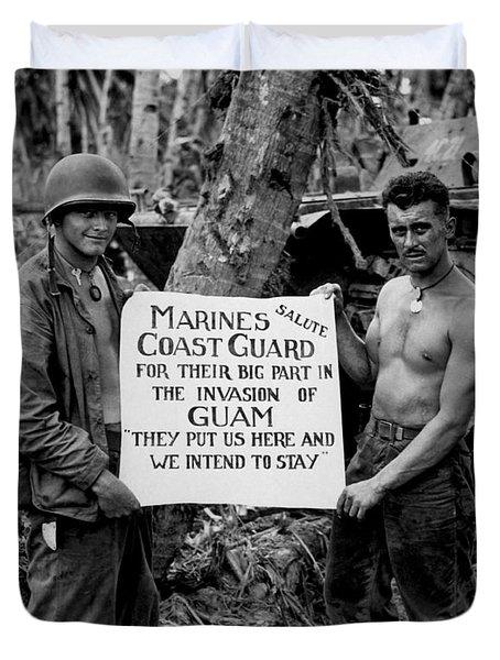 The U.s. Marines Salute The U.s. Coast Duvet Cover by Stocktrek Images