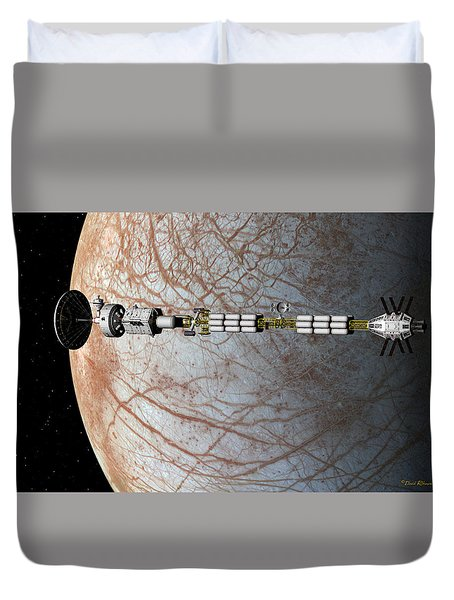 Duvet Cover featuring the digital art The Uss Savannah In Orbit Around Europa by David Robinson