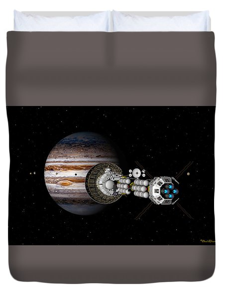 Duvet Cover featuring the digital art The Uss Savannah Nearing Jupiter by David Robinson