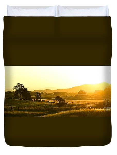 Duvet Cover featuring the photograph The Valley At Dawn by MaryJane Armstrong