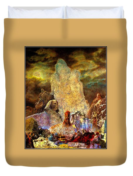 Duvet Cover featuring the painting The Valley Of Sphinks by Henryk Gorecki