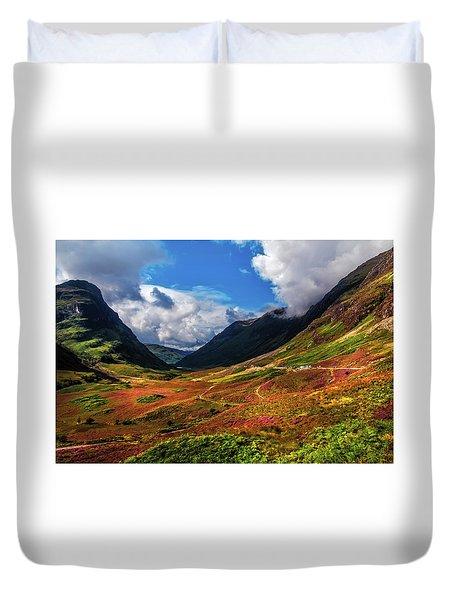 The Valley Of Three Sisters. Glencoe. Scotland Duvet Cover by Jenny Rainbow