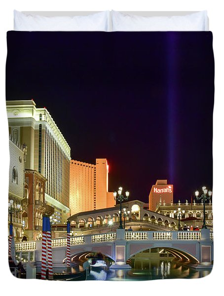 The Venetian Gondolas At Night Duvet Cover