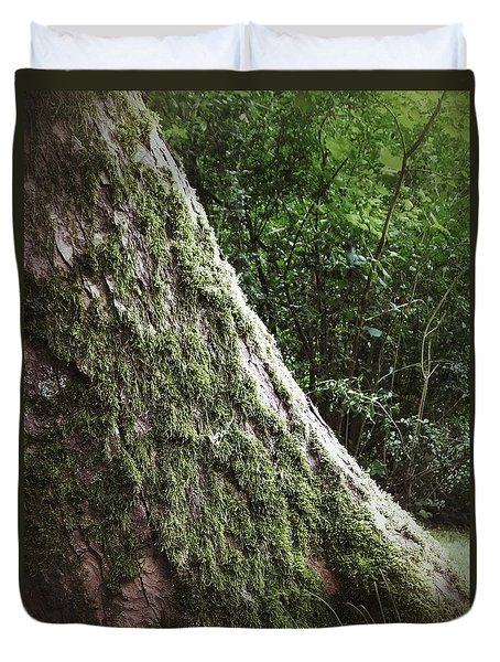 Duvet Cover featuring the photograph The Very Crooked, Mossy Tree by Karen Stahlros
