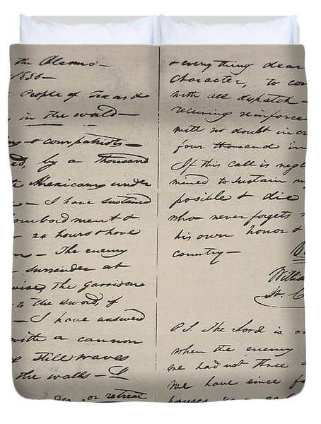 The Victory Of Death Letter Written By The Alamo Commander William Barret Travis, 1836  Duvet Cover