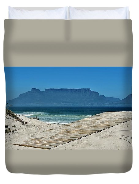 Duvet Cover featuring the photograph The View At Table Mountain by Werner Lehmann