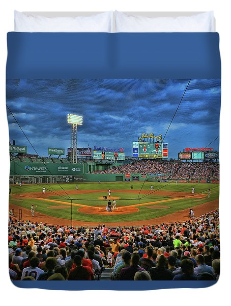 The View From Behind Home Plate - Fenway Park Duvet Cover
