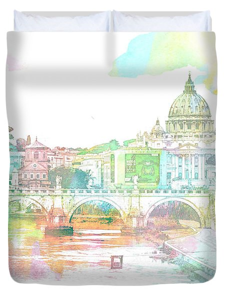 The View From Castel Sant'angelo Towards Ponte Sant'angelo, Brid Duvet Cover