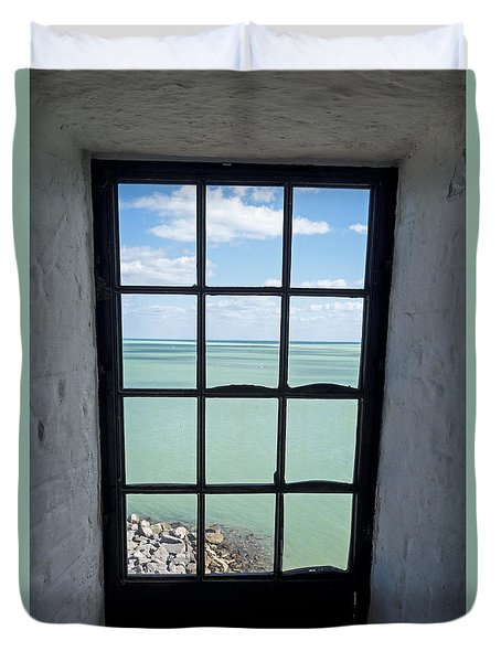 The View From The Lighthouse Window Bill Baggs Lighthouse Key Biscayne Florida Duvet Cover