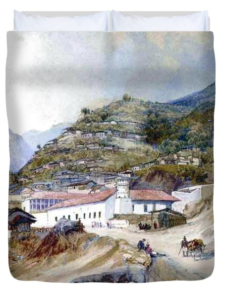 The Village Of Angangueo Duvet Cover by Thomas Moran