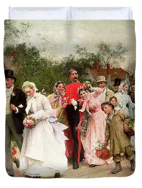 The Village Wedding Duvet Cover by Sir Samuel Luke Fildes