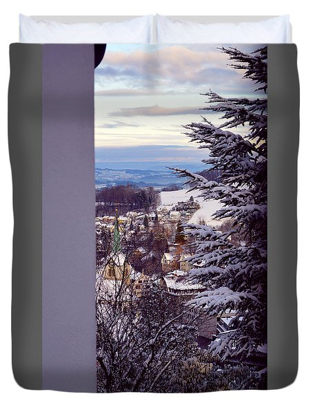 Duvet Cover featuring the photograph The Village - Winter In Switzerland by Susanne Van Hulst