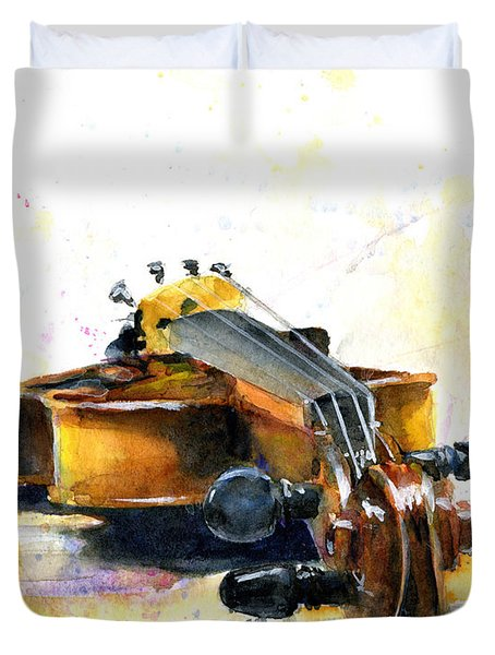 The Violin Duvet Cover by John D Benson
