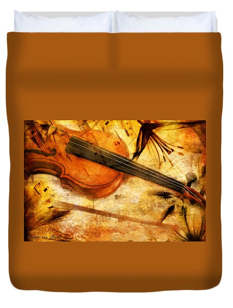 Duvet Cover featuring the digital art The Violin  by Riana Van Staden