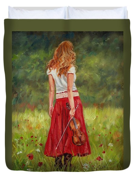The Violinist Duvet Cover by David Stribbling