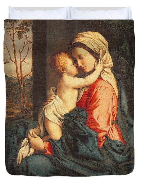 The Virgin And Child Embracing Duvet Cover
