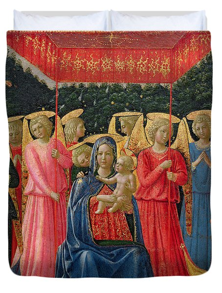 The Virgin And Child With Angels Duvet Cover by Fra Angelico