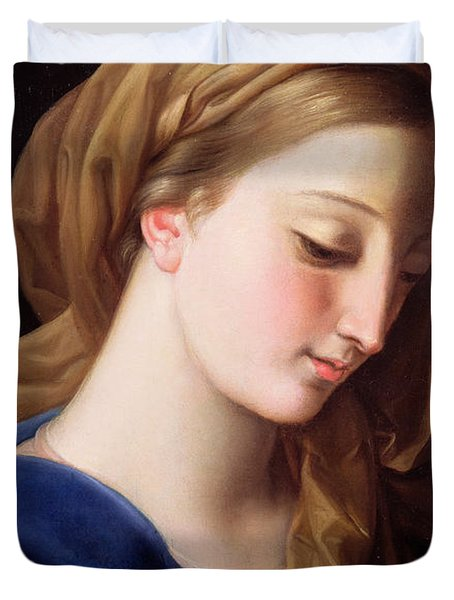 The Virgin Annunciate Duvet Cover by  Pompeo Girolamo Batoni